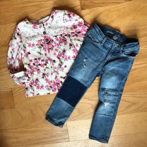 Gap skinny jeans with genuine kids floral top